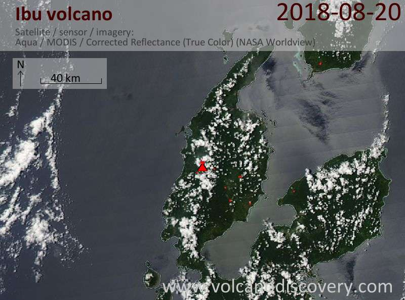 Satellite image of Ibu volcano on 20 Aug 2018
