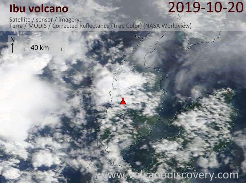 Satellitenbild des Ibu Vulkans am 20 Oct 2019