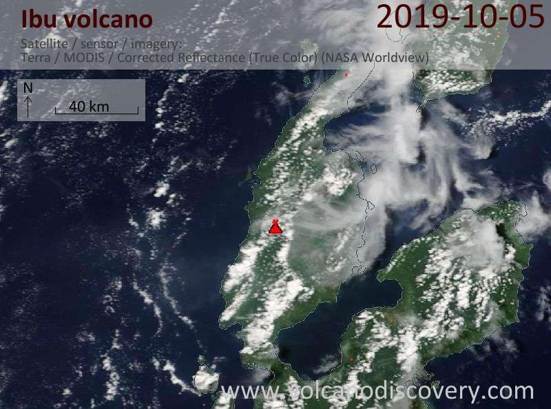Satellite image of Ibu volcano on  5 Oct 2019