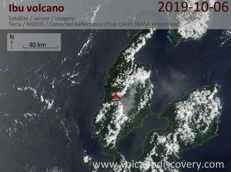 Satellite image of Ibu volcano on  6 Oct 2019
