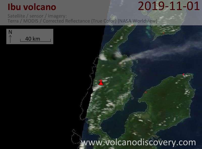 Satellite image of Ibu volcano on  1 Nov 2019
