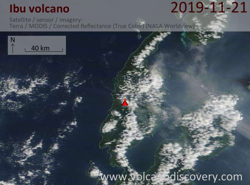Satellite image of Ibu volcano on 21 Nov 2019