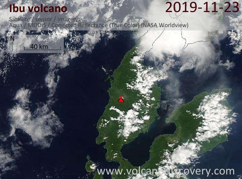 Satellite image of Ibu volcano on 23 Nov 2019
