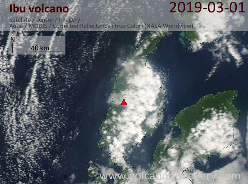 Satellitenbild des Ibu Vulkans am  1 Mar 2019