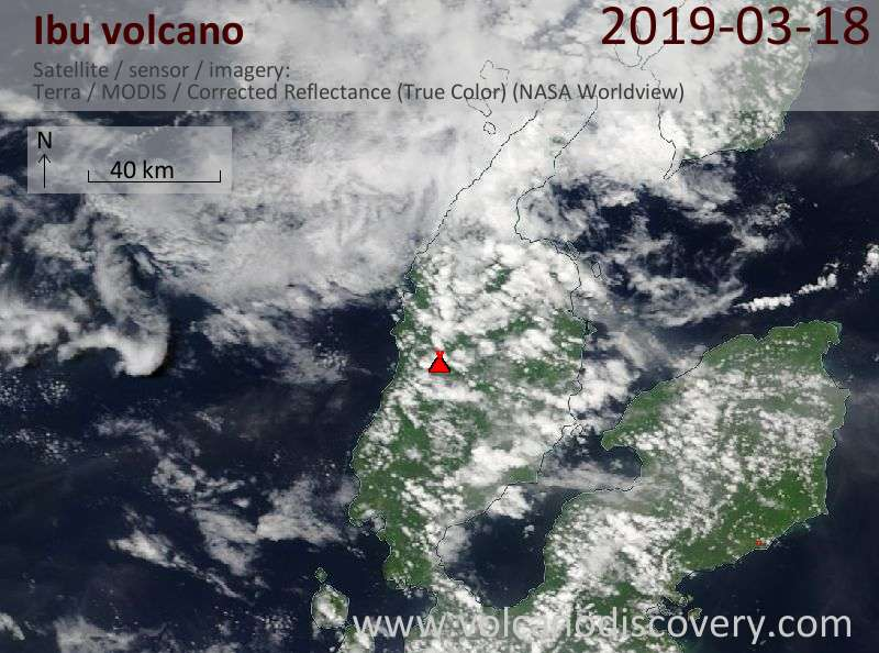 Satellite image of Ibu volcano on 18 Mar 2019
