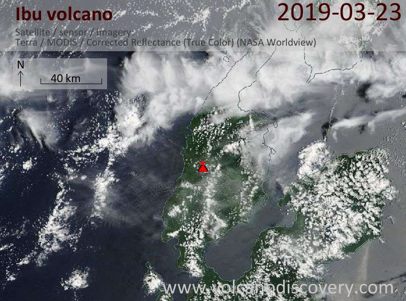 Satellitenbild des Ibu Vulkans am 23 Mar 2019