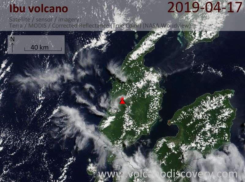 Satellitenbild des Ibu Vulkans am 17 Apr 2019