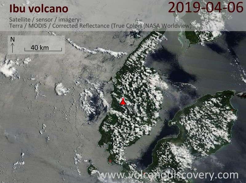 Satellitenbild des Ibu Vulkans am  6 Apr 2019