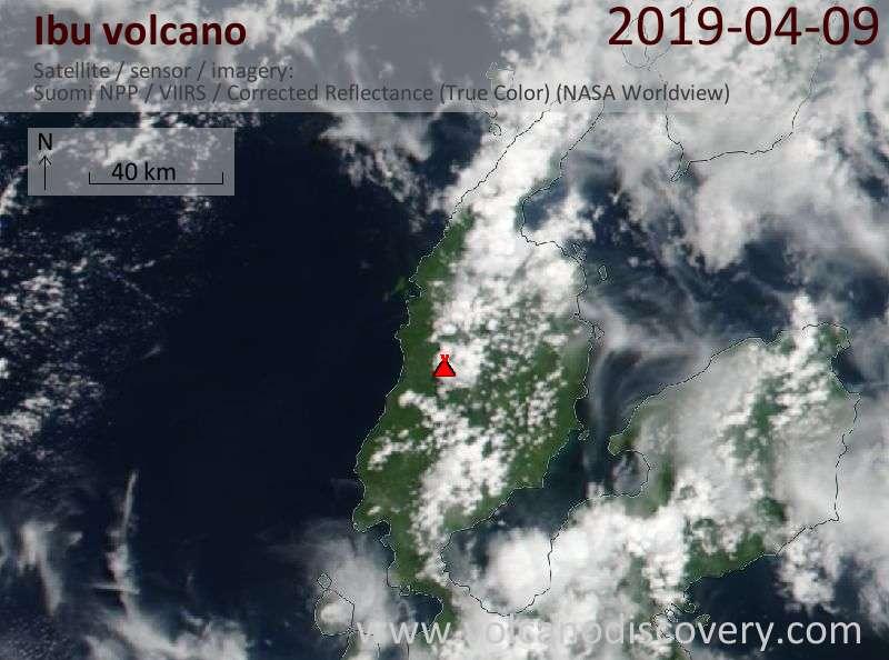 Satellitenbild des Ibu Vulkans am  9 Apr 2019