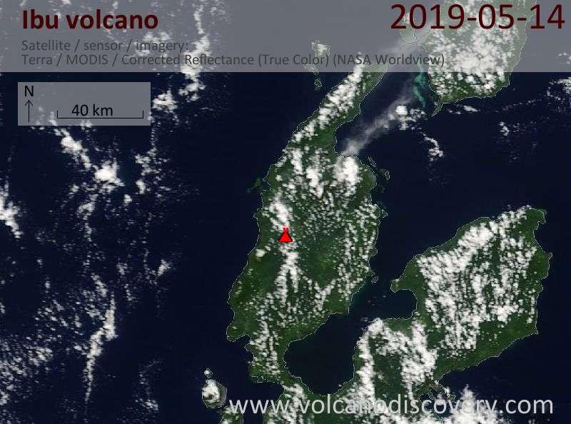 Satellitenbild des Ibu Vulkans am 14 May 2019