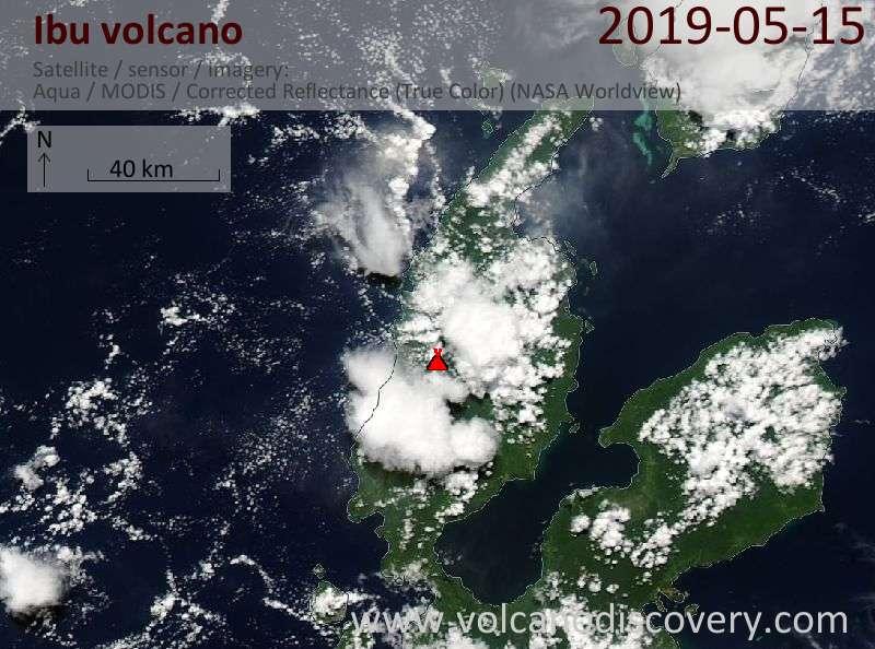 Satellite image of Ibu volcano on 15 May 2019