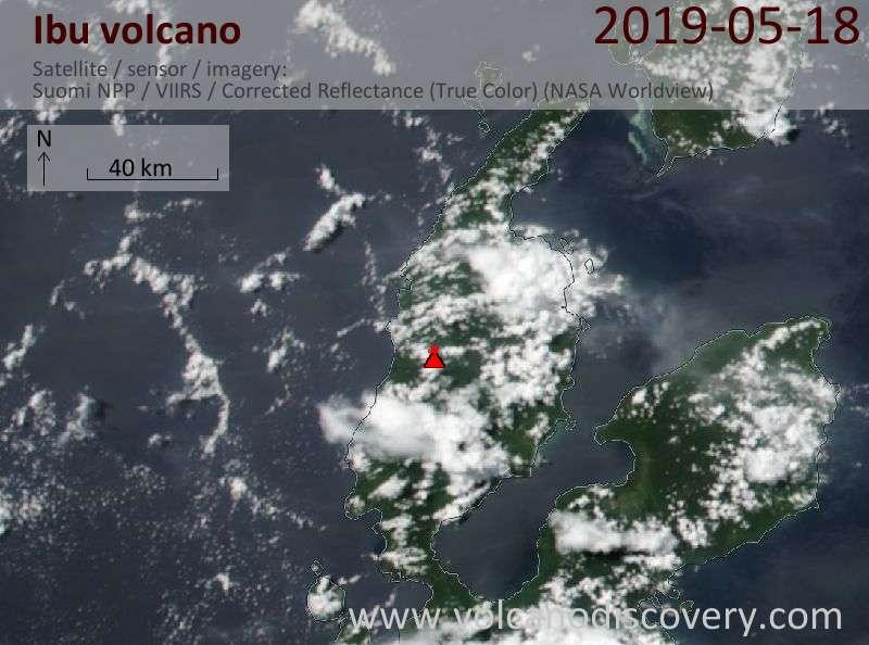 Satellite image of Ibu volcano on 18 May 2019
