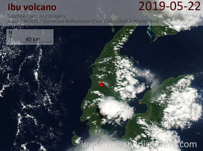 Satellite image of Ibu volcano on 22 May 2019