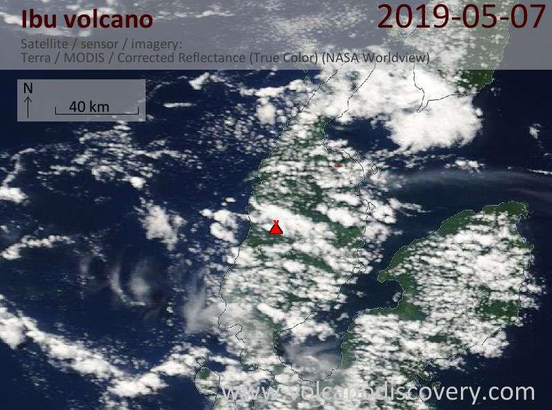 Satellitenbild des Ibu Vulkans am  7 May 2019