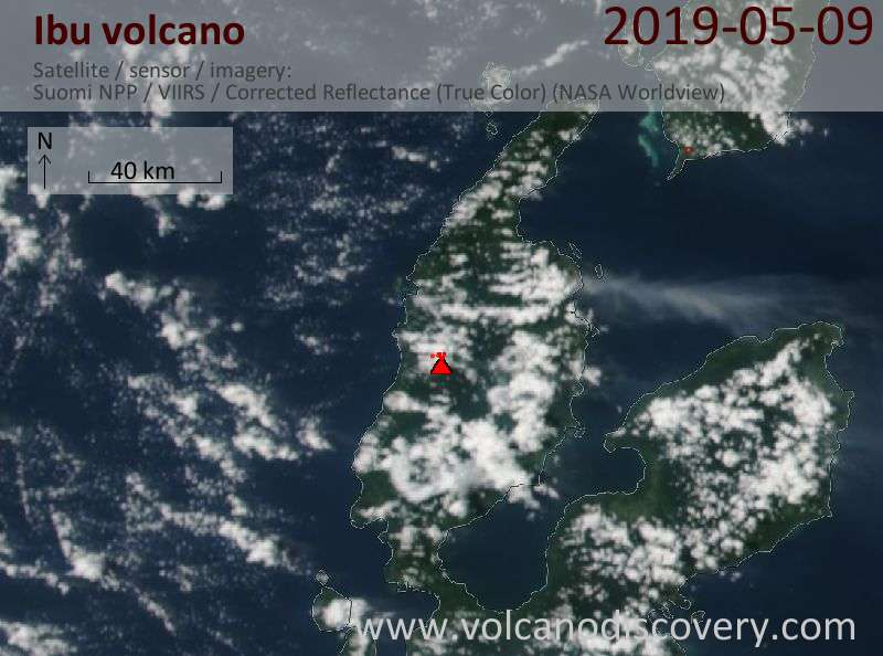 Satellite image of Ibu volcano on  9 May 2019