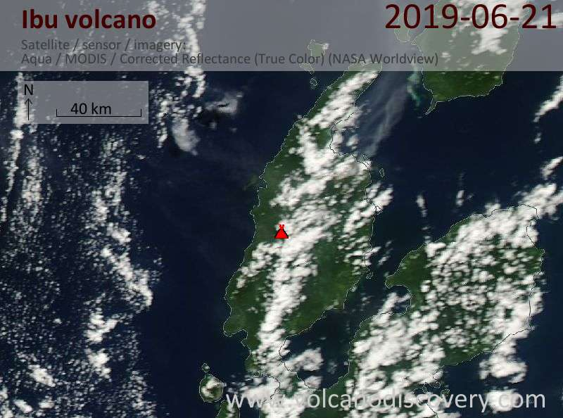 Satellitenbild des Ibu Vulkans am 21 Jun 2019
