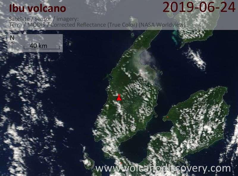 Satellitenbild des Ibu Vulkans am 24 Jun 2019