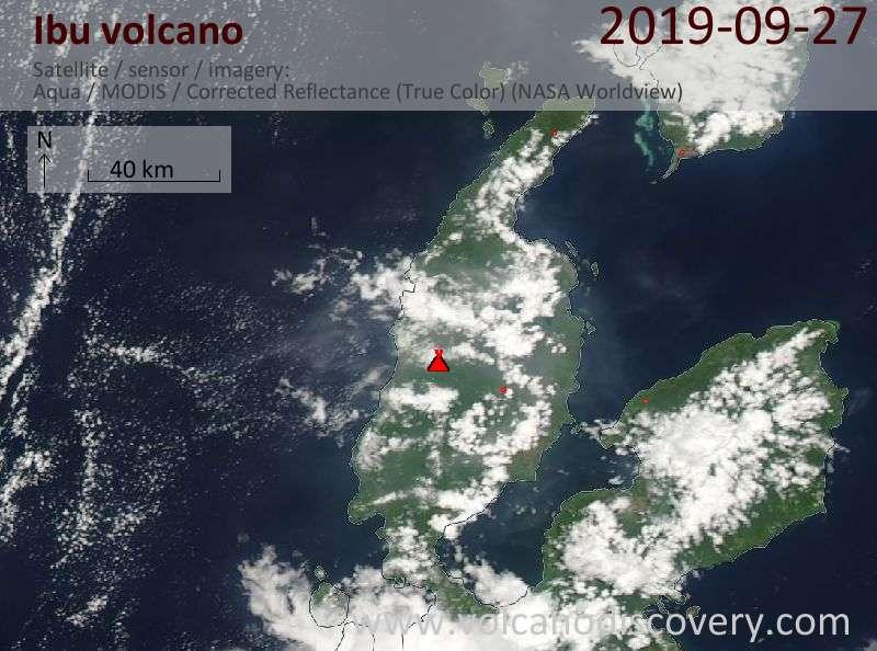 Satellite image of Ibu volcano on 27 Sep 2019