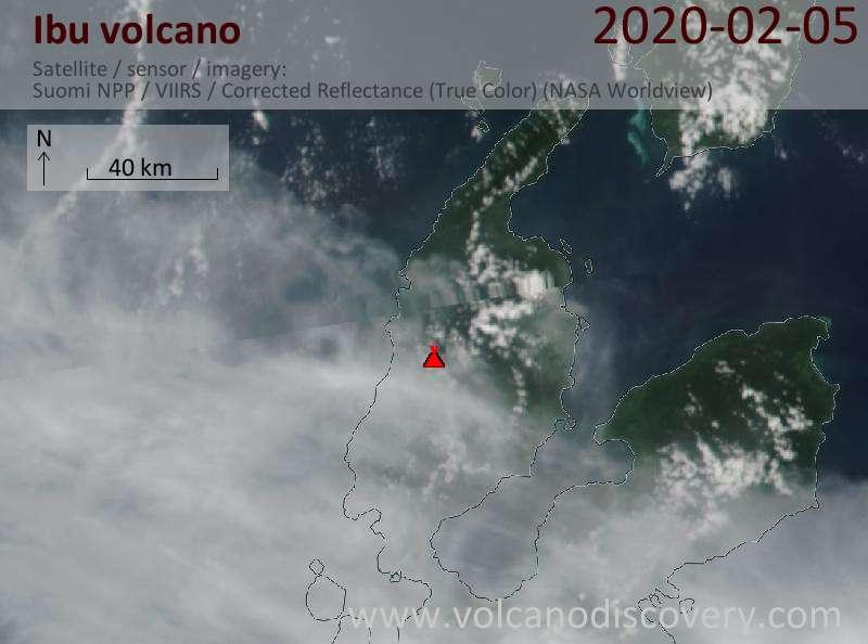 Satellitenbild des Ibu Vulkans am  5 Feb 2020