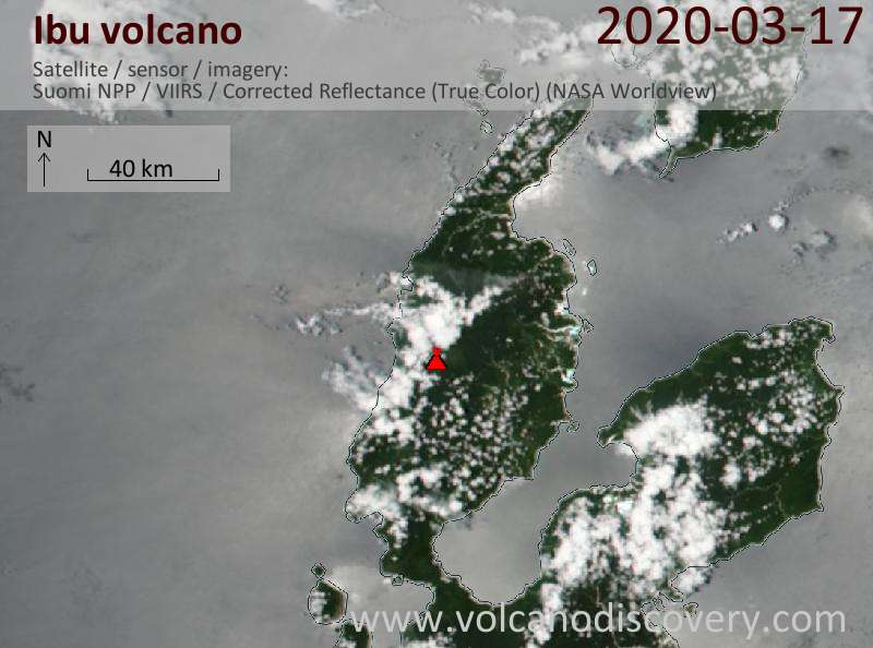 Satellite image of Ibu volcano on 17 Mar 2020