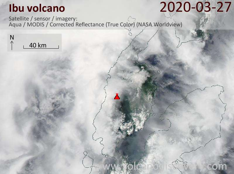 Satellite image of Ibu volcano on 27 Mar 2020
