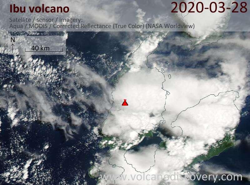 Satellite image of Ibu volcano on 29 Mar 2020