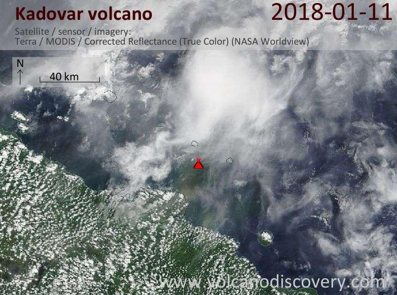Satellite image of Kadovar volcano on 11 Jan 2018