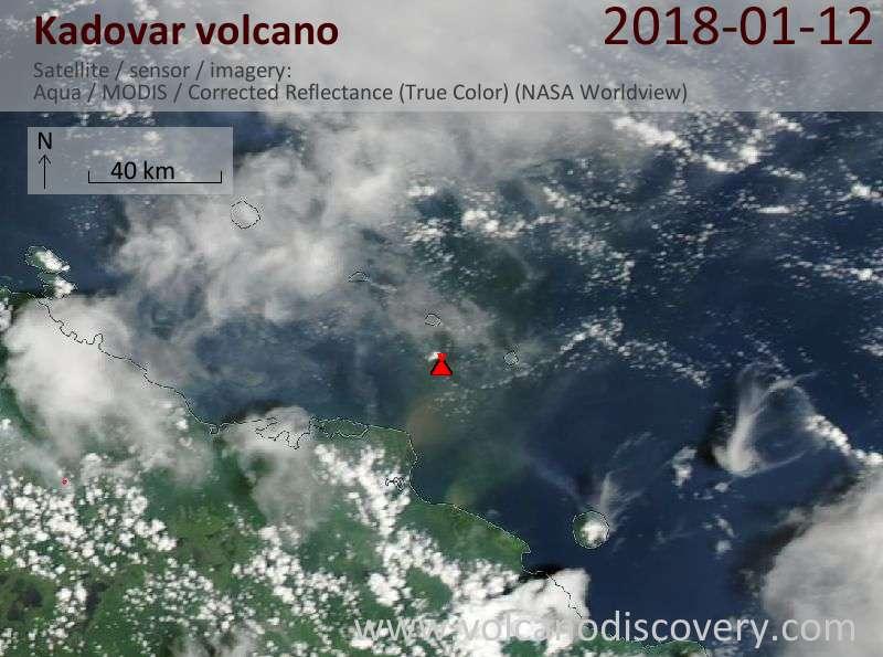 Satellite image of Kadovar volcano on 12 Jan 2018