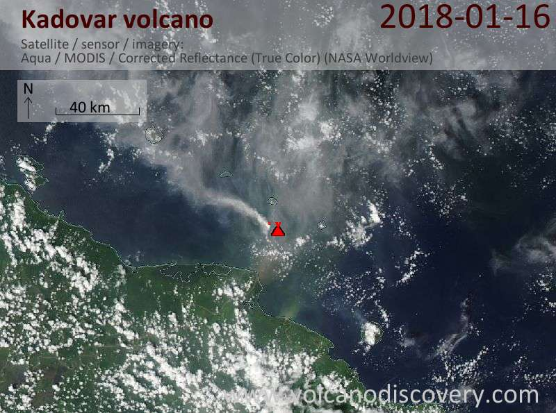 Satellite image of Kadovar volcano on 16 Jan 2018