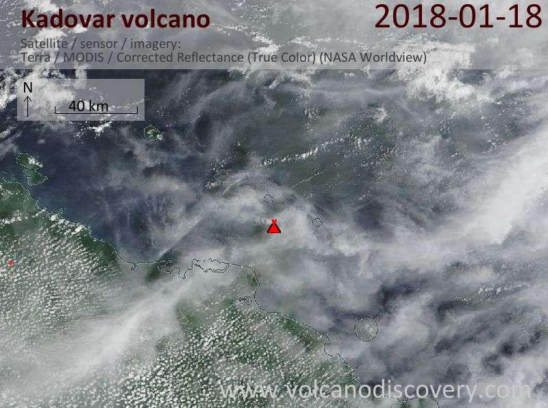 Satellite image of Kadovar volcano on 18 Jan 2018