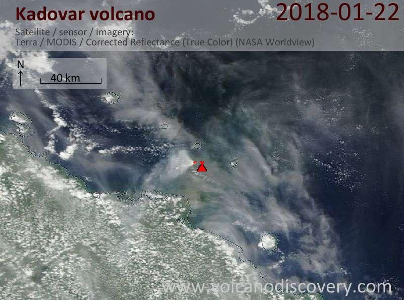 Satellite image of Kadovar volcano on 22 Jan 2018