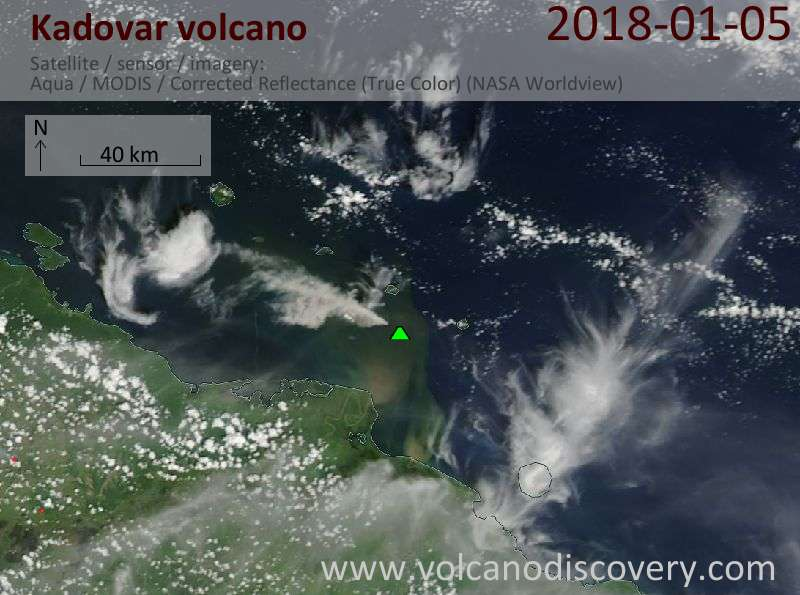 Satellite image of Kadovar volcano on  5 Jan 2018