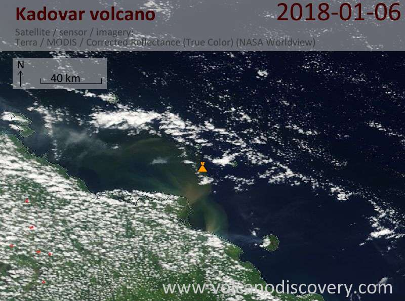 Satellite image of Kadovar volcano on  6 Jan 2018