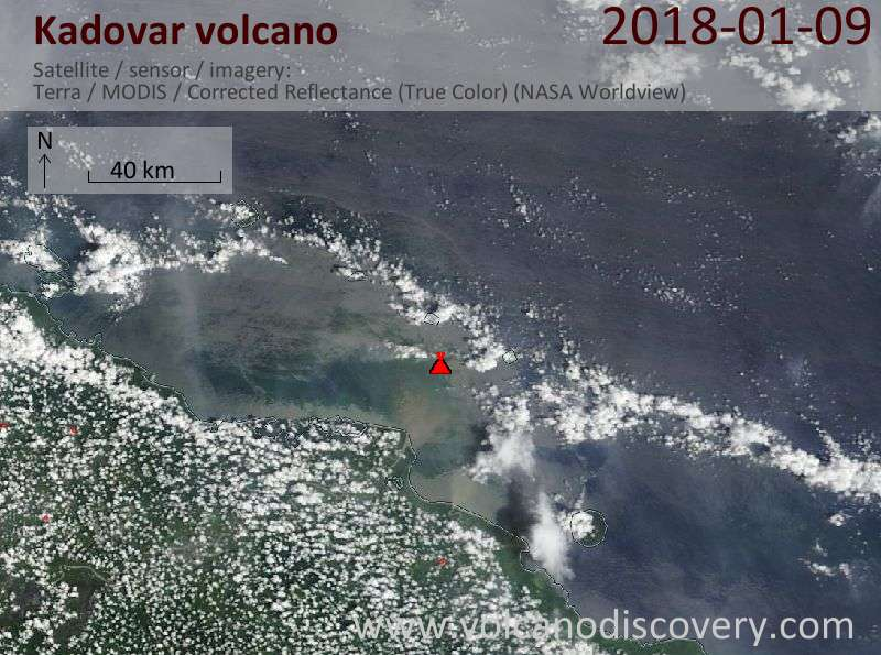 Satellite image of Kadovar volcano on  9 Jan 2018