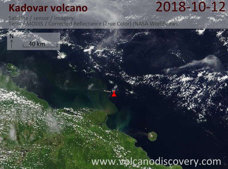 Satellite image of Kadovar volcano on 12 Oct 2018