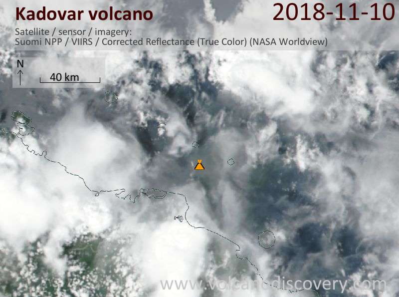 Satellite image of Kadovar volcano on 10 Nov 2018