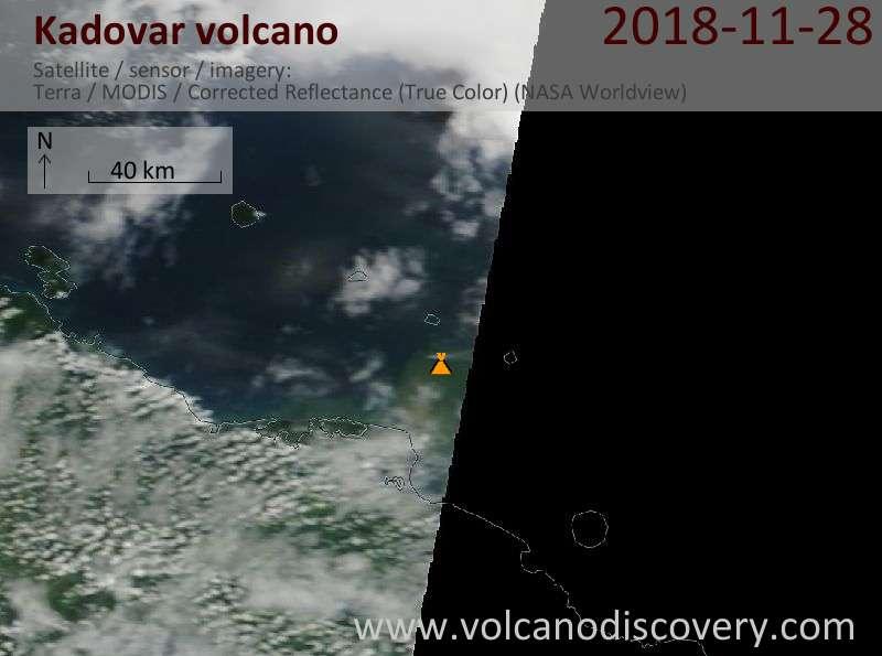 Satellite image of Kadovar volcano on 28 Nov 2018