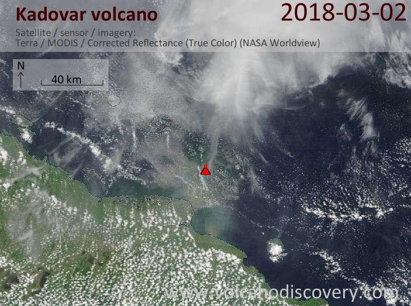 Satellite image of Kadovar volcano on  2 Mar 2018
