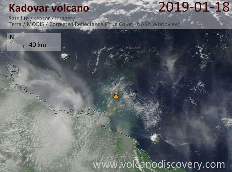 Satellite image of Kadovar volcano on 18 Jan 2019