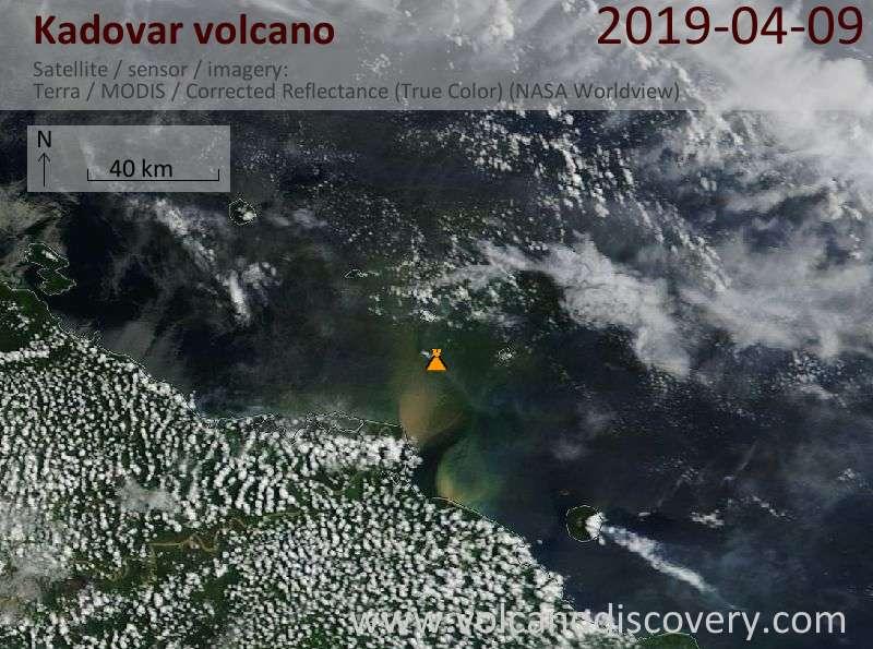 Satellite image of Kadovar volcano on  9 Apr 2019