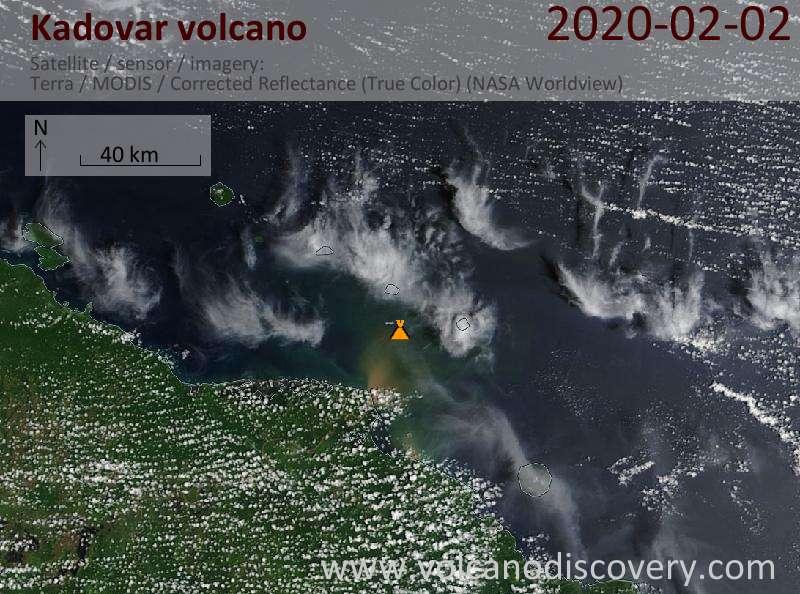Satellitenbild des Kadovar Vulkans am  2 Feb 2020