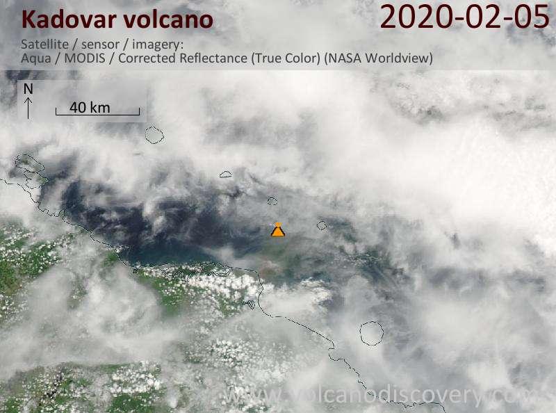 Satellite image of Kadovar volcano on  5 Feb 2020