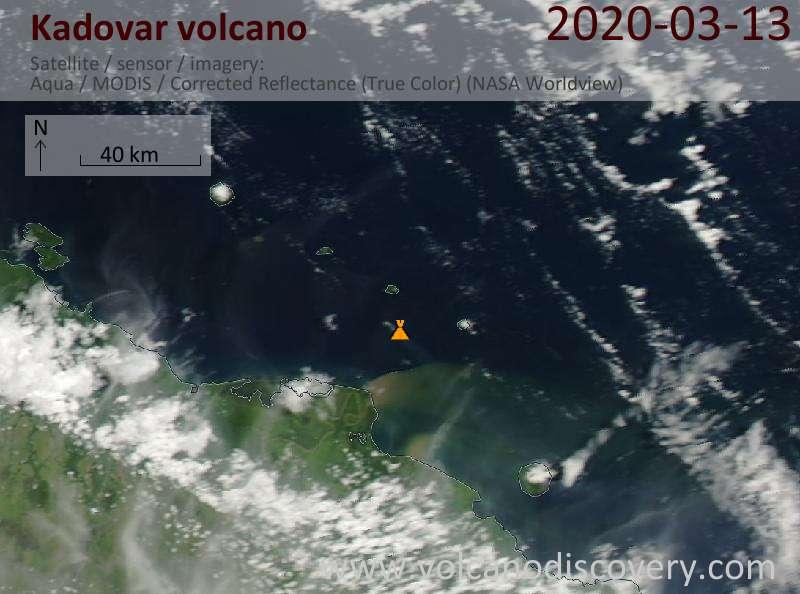 Satellite image of Kadovar volcano on 13 Mar 2020