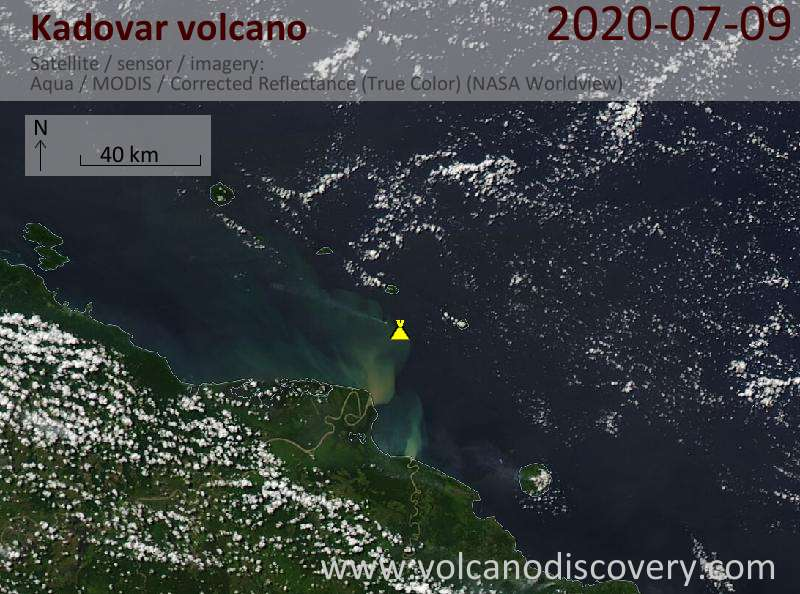 Satellite image of Kadovar volcano on  9 Jul 2020