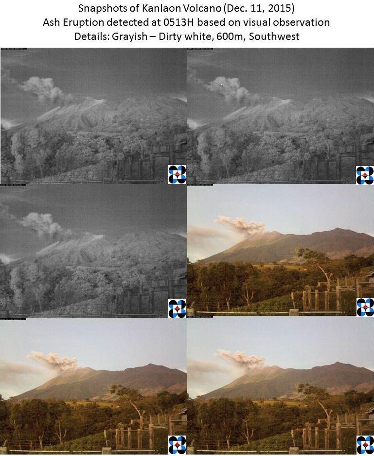 Ash emission at Kanlaon volcano this morning (PHILVOLCS)