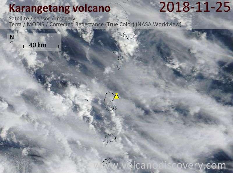 Satellite image of Karangetang volcano on 25 Nov 2018