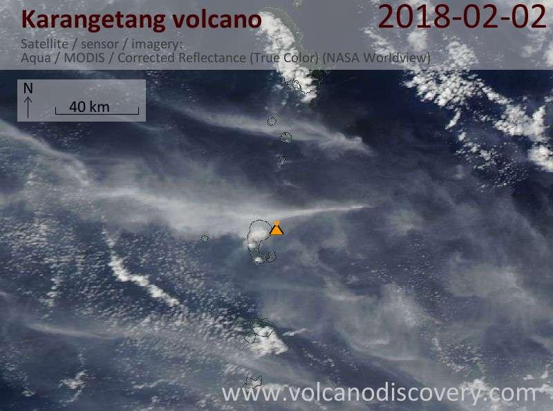 Satellite image of Karangetang volcano on  2 Feb 2018