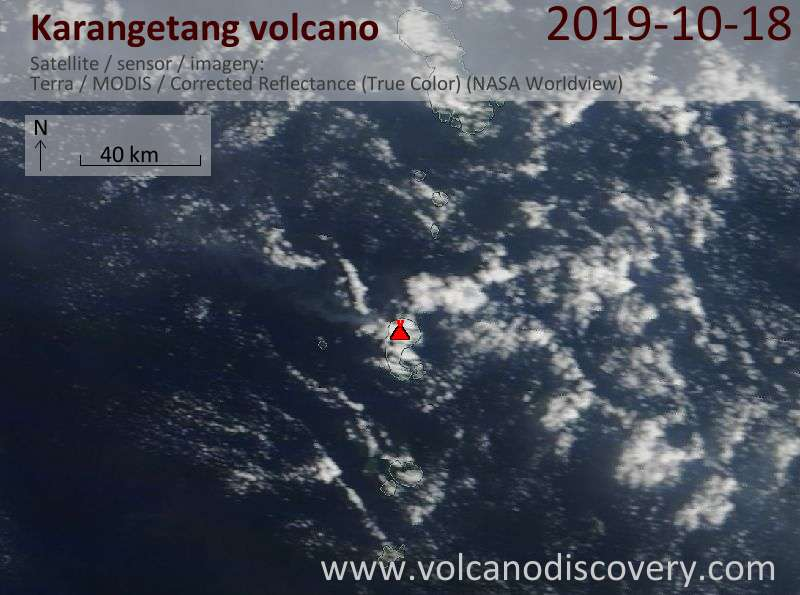 Satellite image of Karangetang volcano on 18 Oct 2019