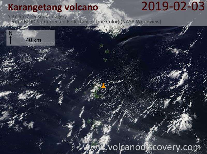 Satellite image of Karangetang volcano on  3 Feb 2019
