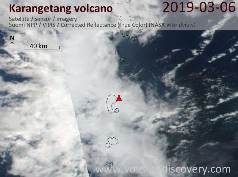 Satellite image of Karangetang volcano on  6 Mar 2019